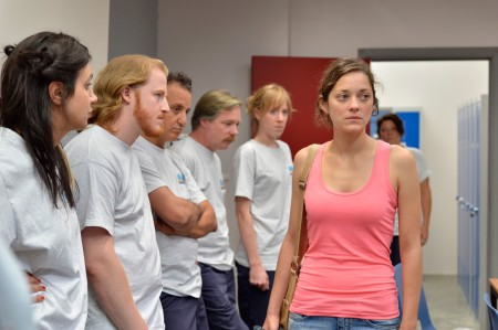 "Sandra (Marion Cotillard)  and coworkers in ""Two Days, One Night"""