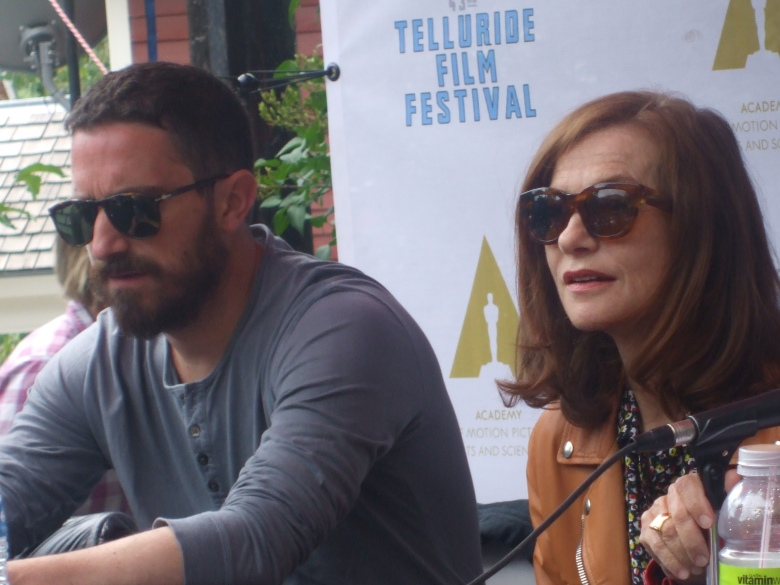 Pablo Larrain and Isabelle Huppert at outdoor panel at Telluride    (c) Ed Scheid